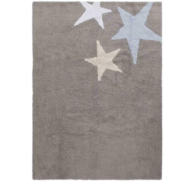 Ковер Lorena Canals Три звезды Three Stars серые и голубые 120 на 160 см