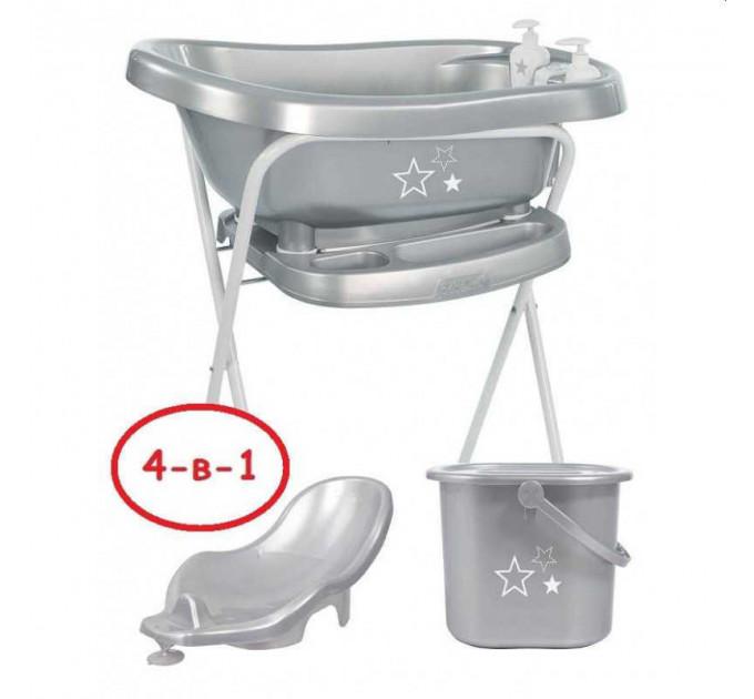 Комплект для купания 4 в 1 Bebe Jou Термованночка+ Подставка Металлическая + Горка +Ведро