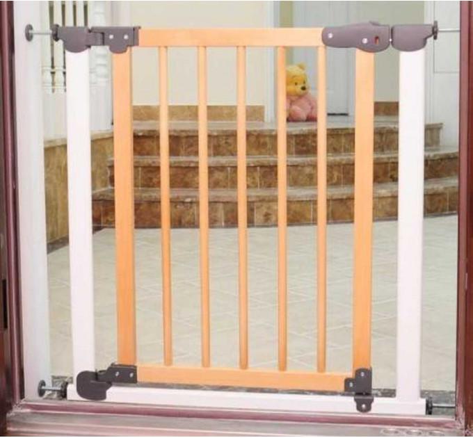 Ворота безопасности для детей Safe and Care Auto (белый-сосна)